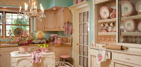 Thumb sweet shabby chic kitchen idea in white and pink theme 1